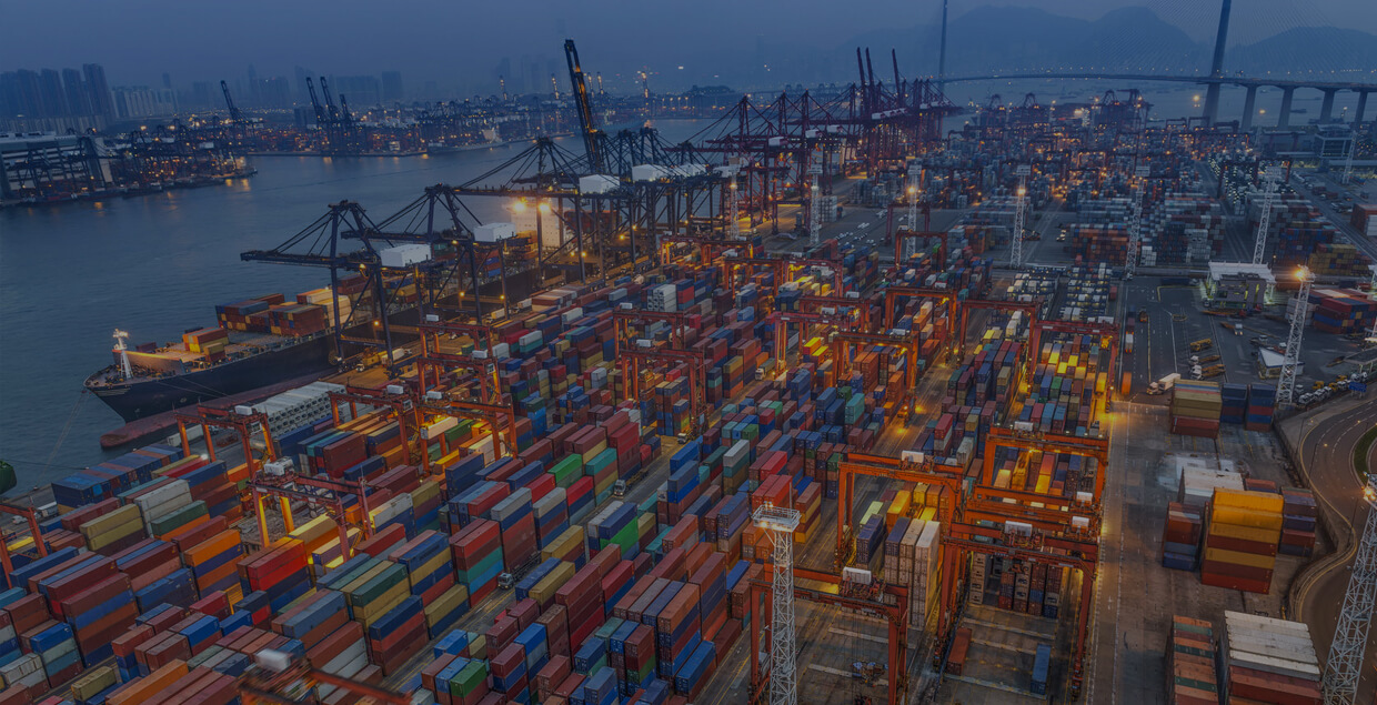 CBS Software - Terminal Operating System, image of shipping container depot in the early morning.